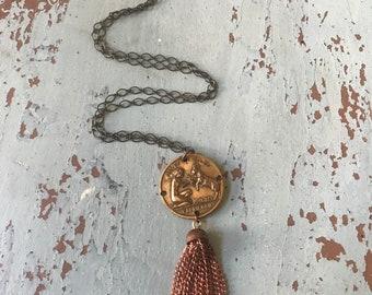 Capricorn Vintage Coin Necklace Copper Tassel December January Zodiac Sign