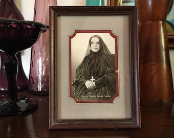 Vintage Framed Holy Card Photo of St. Frances Xavier Cabrini Patron Saint of Immigrants Refugees