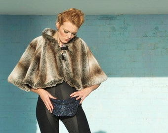 PETROL GLITTER  fannypack, bumbag, hip bag, ykk zipper, black Eco leather