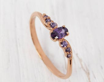 Amethyst ring gold, Dainty ring, Tiny ring, Rose gold engagement ring, Purple stone ring, Delicate ring gold, Fine engagement ring