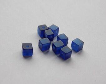glass cube 4 mm dark blue set the cat's eye bead