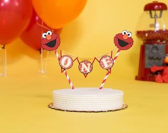 "Elmo Cake topper ""One"" Sesame Street  Cake Topper Birthday bunting- Any age and name available"