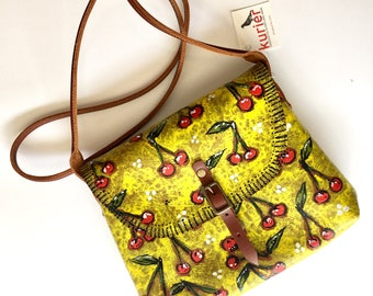 Handpainted with cherries KARINA crossbody leather bag