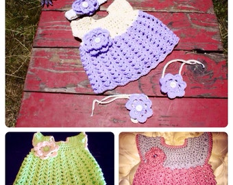 Crochet Infant Dress--Variety of Color Cotton
