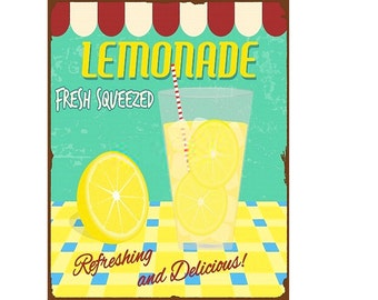 Lemonade Fresh Squeezed Refeshing and Delicious Vintage Enamel Metal TIN SIGN Wall Plaque