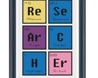 cross stitch pdf periodic table words researcher cross stitch modern cross stitch pattern