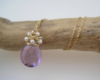 Amethyst  Whirlwind Necklace - Amethyst Pendant - Pearls - February - Wire Wrapped - Birthstone Jewelry - Gold - Semi Precious - Jewelry