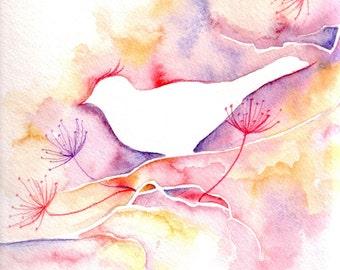 Bird Silhouette Watercolor Illustration