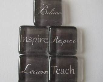 Inspirational Words Square Glass Magnets Set of 5
