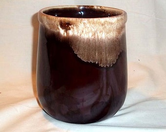 Vintage McCoy Brown Drip Glaze Canister Jar No 135 Without Lid - Utensil Holder or Flower Vase for Rustic and Country Decor