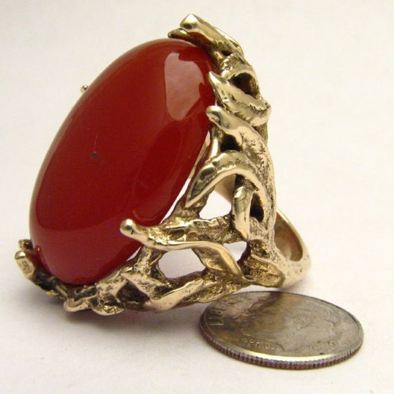 Handmade 14kt Gold Carnelian Massive Claw Cabochon Ring