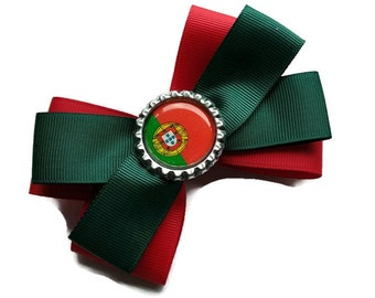 Portugal World Cup hair bow - Portuguese hair clip - Portugal flag gift - Portuguese gifts - Portugal Football bow - Portugal Soccer