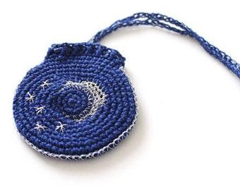 Crocheted Drawstring Jewelry Holder, night sky pattern, crochet bag, sleep monitor holder, sleep sensor pouch, mini activity tracker pouch