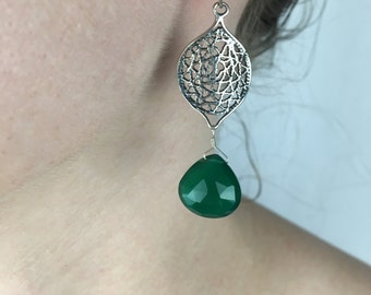 Green Onyx Genuine Natural Faceted Briolettes Wire Wrapped with 925 Sterling Silver Wire on a Woven Component - Statement Earrings