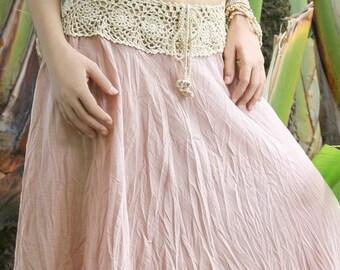 Boho Crochet Waist Skirt with Drawstring, Summer Gauze Cotton Skirt, Swimwear Bikini Cover Up in Pink