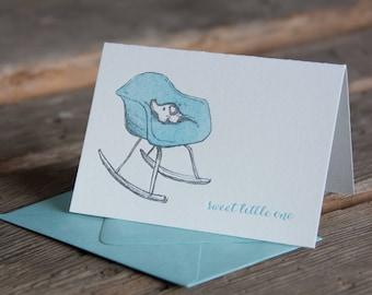 Eames rocker baby card, with little elephant sweet little one, letterpress printed eco friendly