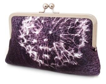 Clutch bag, bridesmaid gift, wedding purse, purple aubergine silk, DANDELION CLOCKS