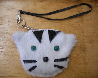Meooow.... White fur kitty wristlet READY TO SHIP