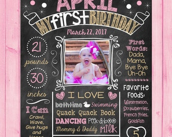 Pink and Gold First Birthday Chalkboard Poster 1st Birthday Chalk Board With Picture Photo Any Color