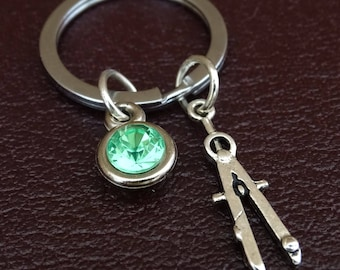 Compasses Keychain, Compasses Key Chain, Compasses Charm, Compasses Pendant, Architect Gifts, Engineer Gifts, Math Teacher Gifts, Geometry