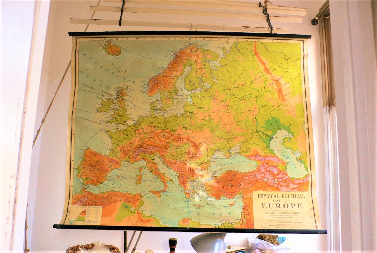 Mid century Map of Europe wall map chart pull down 1950s