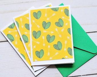 SALE-Cactus Heart Mini Cards // Set of 6 // Blank Card // Gift Card Envelope // Enclosure Card / Western Theme // Desert Theme // Succulant