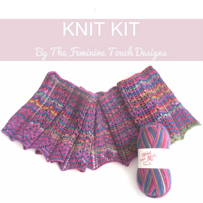 Lace Shawlette scarf knitting kit , knitters gift , diy kit , lace ...