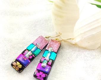 Dichroic fused glass earrings, Fused glass earrings, Hana Sakura, Dichroic rainbow earrings, Trending style, Statement earrings, dichroic