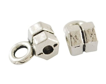 lot 10 Hexagon 3.5 * 4 mm silver bails