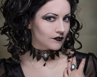 Gothic choker, cameo steampunk lace necklace  - SINISTRA FEATURED IN Devolution magazine