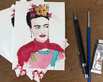 Frida Khalo, pack of 4 art cards with envelopes A6