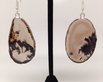 "Ethereal ""Ghost"" agate earrings, silver with taupe and black agate, classy, unique, spell-bounding"