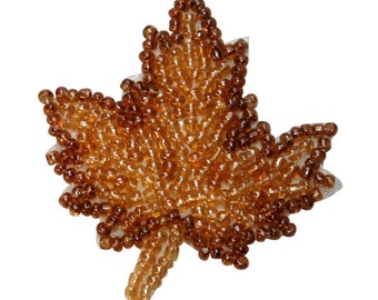 ID 8937 Fall Maple Tree Leaf Patch Dried Plant Nature Beaded Iron On Applique