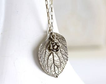 Sterling leaf necklace Hydrangea leaf necklace one of a kind