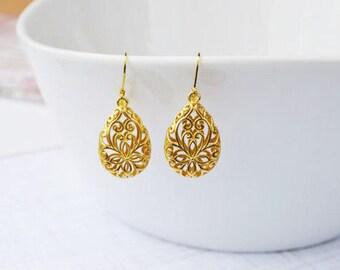 SALE - Gold Filigree Earrings, Modern Gold Lace Teardrop Earrings, Boho Chic Earrings, Wedding Bridal Earrings, Bridesmaids Gift