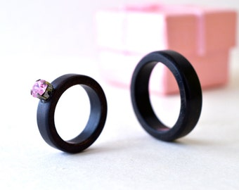 His and Her Ebony Rings, Ebony Ring Set, Wood Wedding Rings, Wood Rings Set, Black Wedding Bands, Black Rings, Ebony Rings, Swarovski