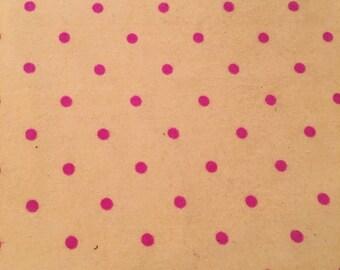 Lemon yellow & Bright Pink Polka Dot Flannel Fabric
