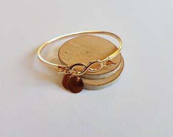Gold Infinity cuff bracelet, initial bracelet,Name bracelet,Infinity bracelet,Wire Metal Cuff Bracelets,infinity bangle,initial bangle