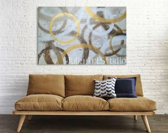 """brown painting, Gold canvas, abstract painting, Original canvas art, , Abstract Painting, 36""""(W)x24""""(H)"""