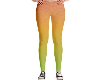 Green to Red Tropical Gradient Leggings