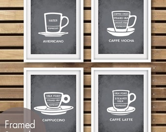Barista Coffee Cup Series (B) Set of 4 - Art Prints (Featured in Charcoal) Kitchen Coffee Art Prints
