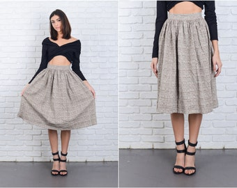 White + Brown Skirt Vintage 70s  Skirt Cotton High Waist Full A-line XXS 6861 white skirt brown skirt high waist skirt xxs skirt