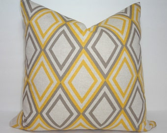 Decorative Accent Pillow Cover Yellow & Grey Diamond Geometric Pillow Cover Size 18x18