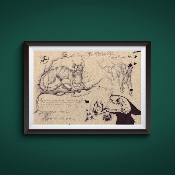 Large Cheshire Cat Alice In Wonderland Art Print