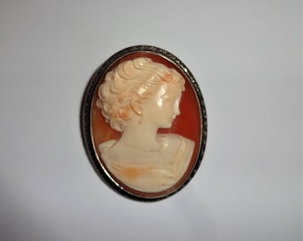 Cameo Victorian Pin, Necklace, Brooch Edwardian