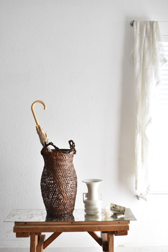 tall woven wicker rattan umbrella holder basket storage / bamboo container