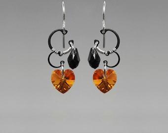 Topaz Swarovski Crystal Earrings, Industrial Wire Wrapped Earrings, Black Swarovski Crystal, Statement Jewelry, Mercury II v4