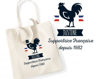 """TOTE BAG 100% cotton """"French fan"""" personalized"""