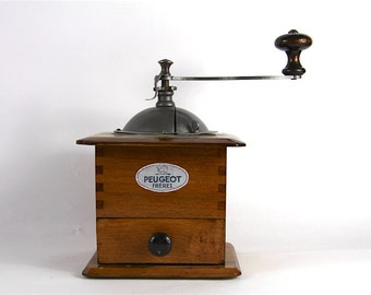 French Antique Peugeot Coffee Mill Grinder Wood and Metal, Burr Grinder Fully Restored