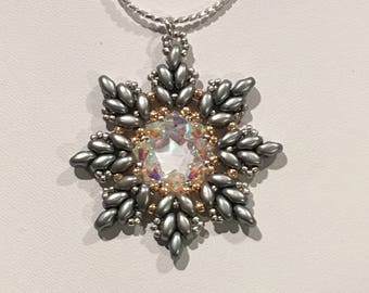 Silver & Crystal Snowflake Pendant on Sterling Silver Chain